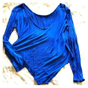 Tops - Blue Cotton Long Sleeve Stretch Body Suit, Size 2X